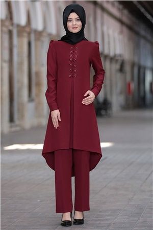 Tunic - Pants - 2 Piece Suit - Crepe - Unlined - High Collar - Claret Red - AHN01