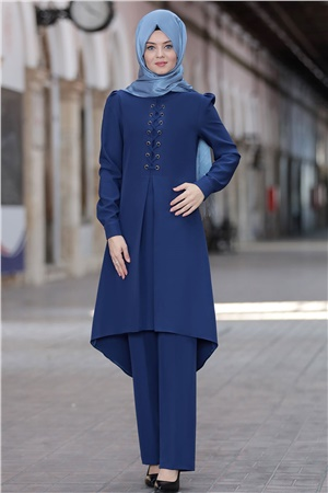 Tunic - Pants - 2 Piece Suit - Crepe - Unlined - High Collar - Royal Blue - AHN01