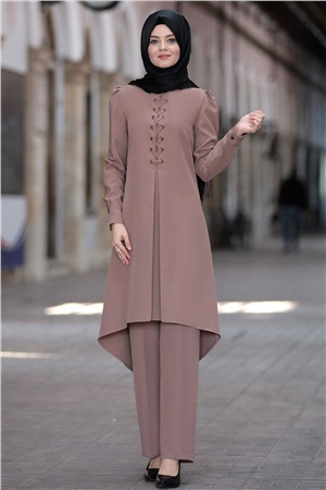 Tunic - Pants - 2 Piece Suit - Crepe - Unlined - High Collar - Mink - AHN01
