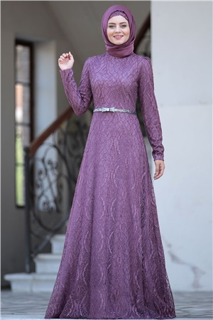Evening Dress - Lace - Full Lined - High Collar - Lilac - AHN135