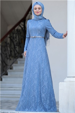 Evening Dress - Lace - Full Lined - High Collar - Blue - AHN135