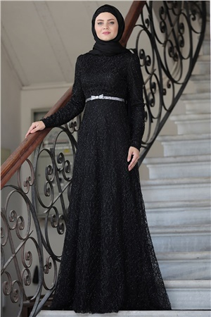 Evening Dress - Lace - Full Lined - High Collar - Black - AHN135