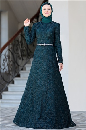 Evening Dress - Lace - Full Lined - High Collar - Emerald Green - AHN135