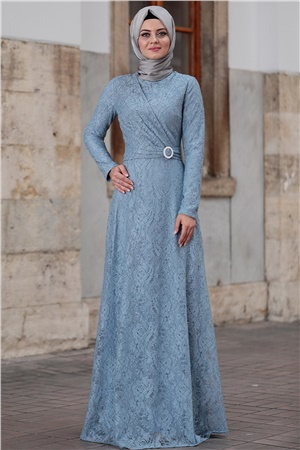 Dress - Lace - Full Lined - High Collar - Baby Blue - AHN100