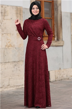 Dress - Lace - Full Lined - High Collar - Claret Red - AHN100