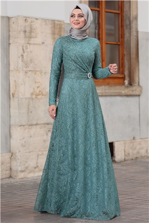 Dress - Lace - Full Lined - High Collar - Mint - AHN100
