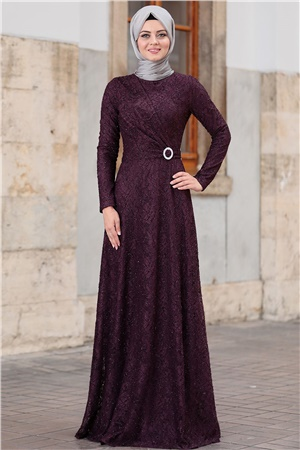 Dress - Lace - Full Lined - High Collar - Purple - AHN100