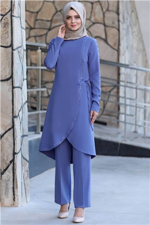 Tunic - Pants - 2 Piece Suit - Crepe - Unlined - Bicycle Collar - Baby Blue - AHN161