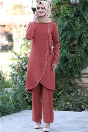 Tunic - Trousers - 2 Piece Suit - Crepe - Unlined - Crew Neck - Tile - AHN161