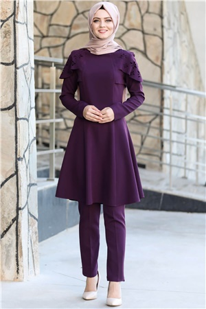 Tunic - Pants - Unlined - Crew Neck - Purple - AHN165