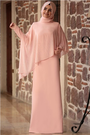Evening Dress - Crepe - Chiffon - Full Lined - High Collar - Powder - SMY04