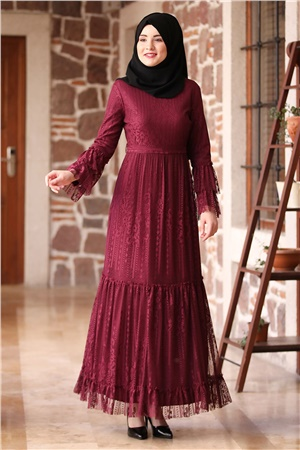 Dress - Lace - Lined - High Collar - Plum - AMH100