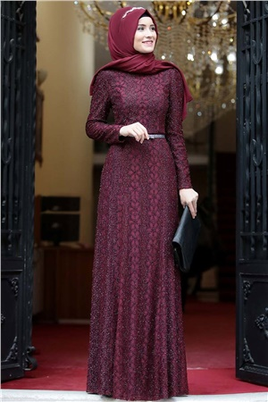 Evening Dress - Lace - Full Lined - High Collar - Claret Red - AMH119