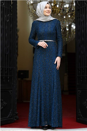 Evening Dress - Lace - Full Lined - High Collar - Navy Dark Blue - AMH119