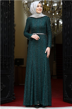 Evening Dress - Lace - Full Lined - High Collar - Emerald Green- AMH119