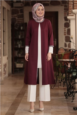 Jacket - Tunic - Pants - 3 Piece Suit - Crepe - Unlined - Crew Neck - Plum - AMH122