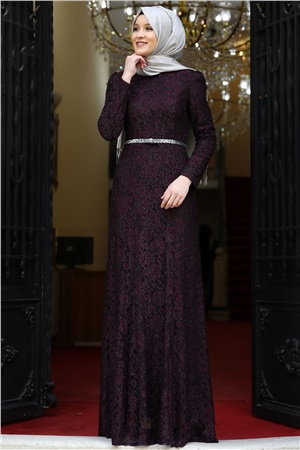 Evening Dress - Lace - Full Lined - High Collar - Purple - AMH125