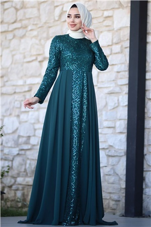 Evening Dress - Chiffon - Sequins - Full Lined - High Collar - Emerald Green - AMH232
