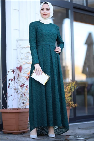 Evening Dress - Lace - Full Lined - High Collar - Emerald Green - AMH238