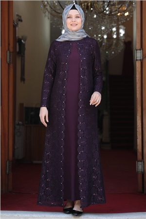 Evening Dress - Lycra - Unlined - Crew Neck - Purple - AMH502