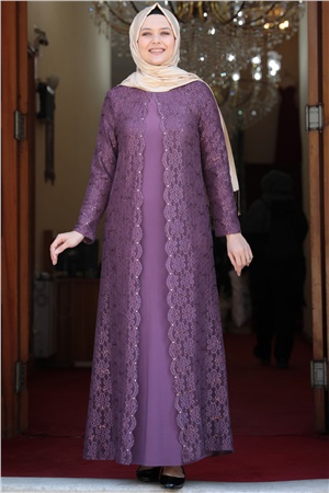 Evening Dress - Lycra - Unlined - Crew Neck - Plum - AMH502