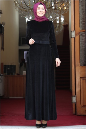 Dress - Velvet - Unlined - Crew Neck - Black - AMH508