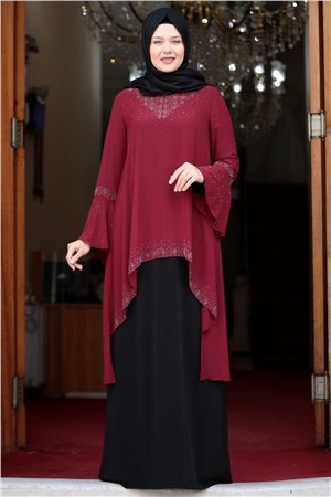 Evening Dress - Lycra - Unlined - Crew Neck -  Claret Red / Black - AMH534