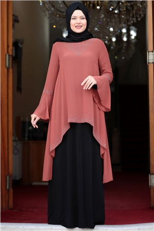 Evening Dress - Lycra - Unlined - Crew Neck -  Brick / Black - AMH534