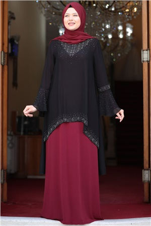 Evening Dress - Lycra - Unlined - Crew Neck - Black / Claret Red - AMH534
