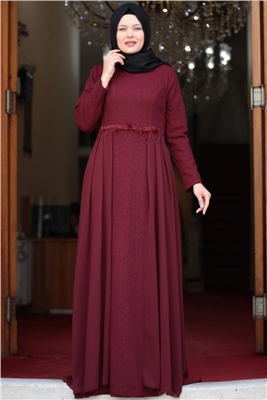 Evening Dress - Lycra - Unlined - Crew Neck -  Claret Red - AMH538