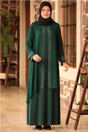 Dress - Lycra - Unlined - Crew Neck - Emerald Green- AMH548