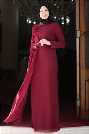 Evening Dress - Crepe - Lined - High Collar - Claret Red - AMH552