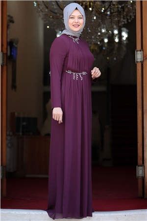 Evening Dress - Crepe - Lined - High Collar - Purple - AMH552