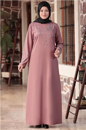 Evening Dress - Crepe - Unlined - High Collar - Plum Pink- AMH565