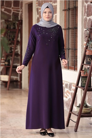 Evening Dress - Crepe - Unlined - High Collar - Purple- AMH565