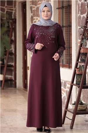 Evening Dress - Crepe - Unlined - High Collar - Plum - AMH565
