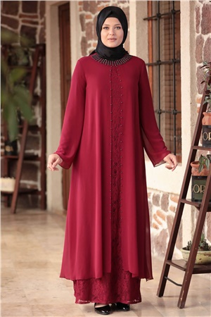 Dress - Lace - Full Lined - Crew Neck - Claret Red - AMH567