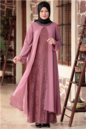 Dress - Lace - Full Lined - Crew Neck - Pale Pink - AHM567