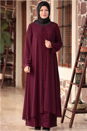 Dress - Lace - Full Lined - Crew Neck - Plum - AHM567