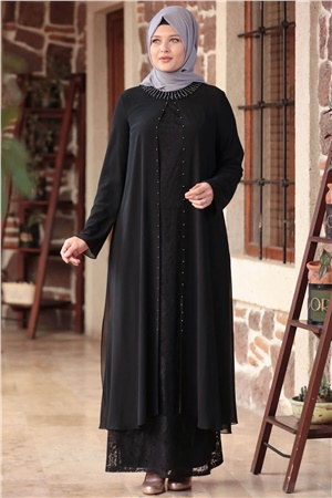 Dress - Lace - Full Lined - Crew Neck - Black - AHM567