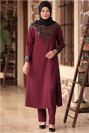 Tunic - Pants - Crepe - Unlined - Crew Neck - Plum - AMH569