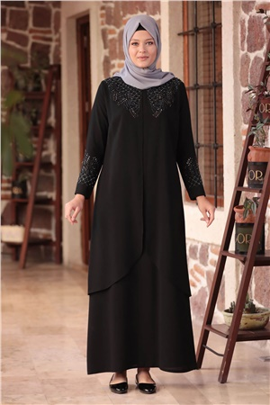 Dress - Crepe - Unlined - Crew Neck - Siyah - AMH610