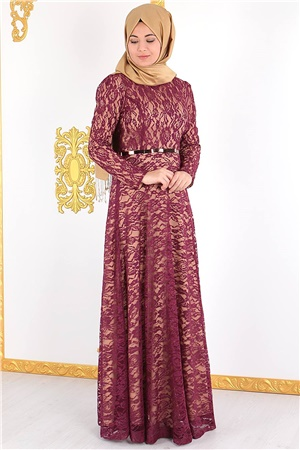 Dress - Lace - Full Lined - High Collar - Plum - FHM388