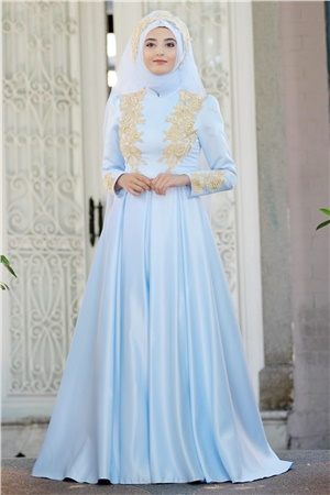 Evening Dress - Satin - Guipure - Full Lined - High Collar - Baby Blue - SMY07