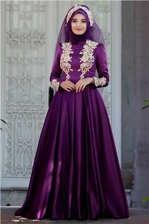 Evening Dress - Satin - Guipure - Full Lined - High Collar - Purple - SMY07