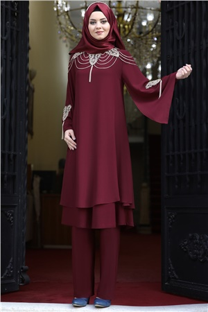 Tunic - Pants - 2 Piece Suit - Chiffon - Crepe - Unlined - High Collar - Claret Red - AHN10