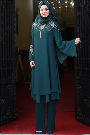 Tunic - Pants - 2 Piece Suit - Chiffon - Crepe - Unlined - High Collar - Petrol Green - AHN10