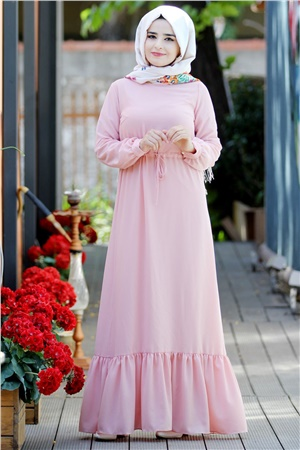 Dress - Crepe - Unlined - High Collar - Powder - SMY08