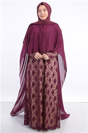 Dress - Lace - Full Lined - Crew Neck - Plum - FHM390