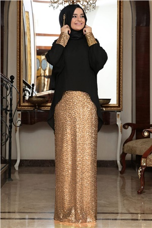 Blouse - Skirt - 2 Piece Suit - Sequin - Crew Neck - Gold - FHM394